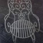 Ghế sắt mỹ thuật nhiều hoa văn KH38